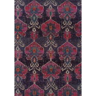 Antiqued Modern Grey/ Pink Polypropylene Rug (7'10 x 11')