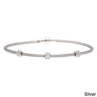 La Preciosa Sterling Silver Cubic Zirconia Mesh Bracelet