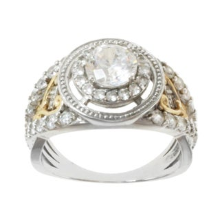 Michael Valitutti Sterling Silver and 14k Yellow Gold and Cubic Zirconia Ring