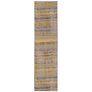 Distressed Ikat Yellow/ Grey Area Rug (2'7 x 10')