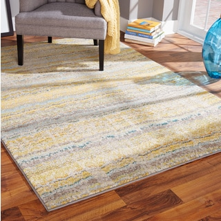 Distressed Ikat Yellow/ Grey Rug (5'3 x 7'6)