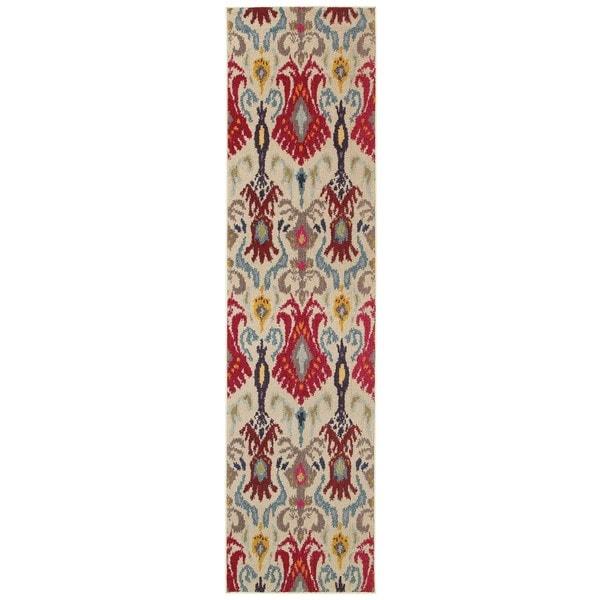 Rug Kaleidoscope Runner: Vibrant Bohemian Ivory/ Red Area Rug (2'7 X 10