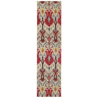 Vibrant Bohemian Ivory/ Red Area Rug (2'7 x 10')