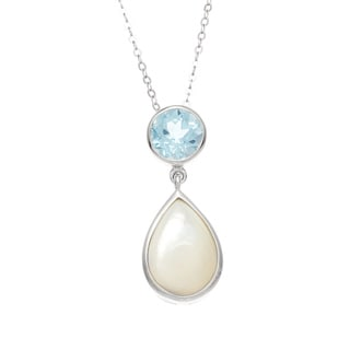 La Preciosa Sterling Silver Blue Topaz and Mother of Pearl Necklace