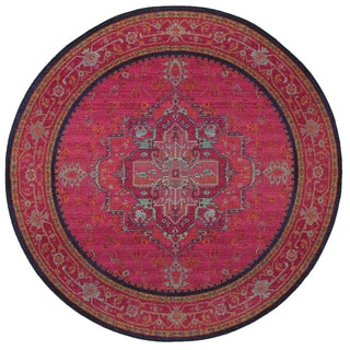 Updated Traditional Pink/ Blue Polypropylene Rug (7'8 Round)
