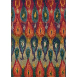 Vibrant Abstract Red and Multicolored Area Rug (4' x 5'9)
