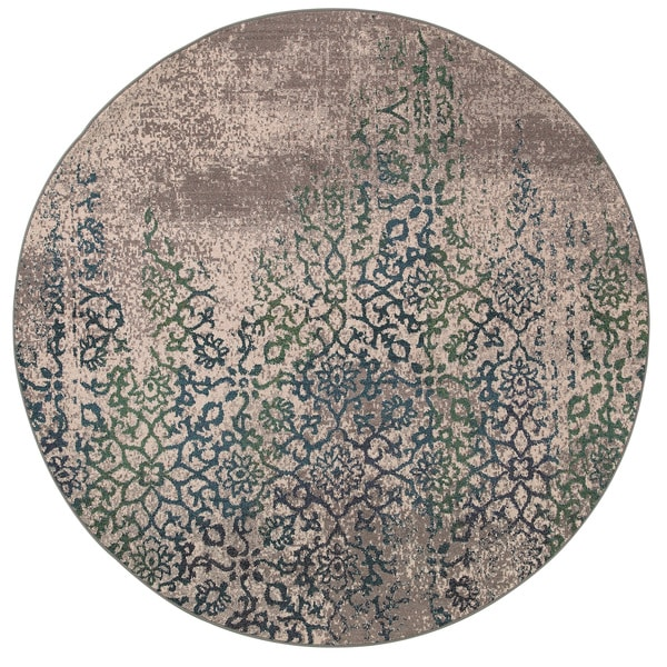 Distressed Motif Grey/ Blue Rug (7'8 Round)