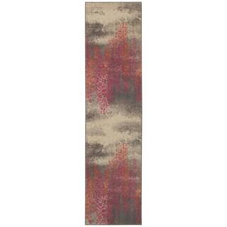 Distressed Motif Grey/ Pink Area Rug (2'7 x 10')