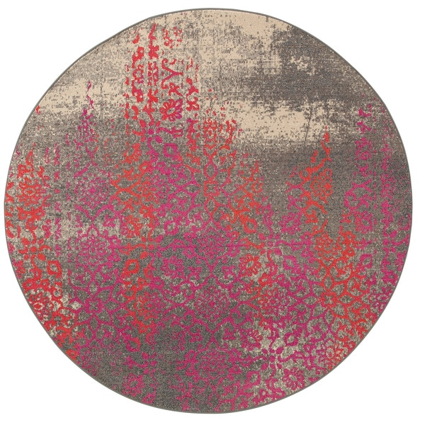 Distressed Motif Grey/ Pink Rug (7'8 Round)