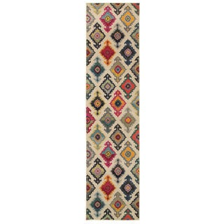 Vibrant Bohemian Ivory and Multicolored Area Rug (2'7 x 10')