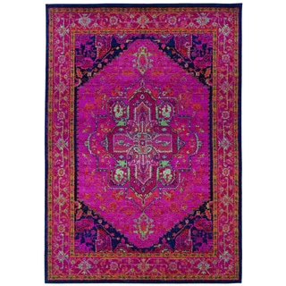 Updated Traditional Pink/ Blue Polypropylene Rug (5'3 x 7'6)