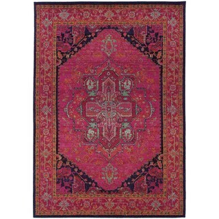 Updated Traditional Pink/ Blue Rug (9'9 x 12'2)