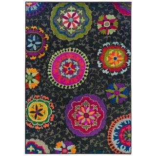 Vibrant Floral Grey/ Multi Polypropylene Rug (5'3 x 7'6)