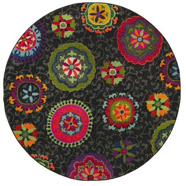 Vibrant Floral Grey/ Multi Indoor Rug (7'8 Round)