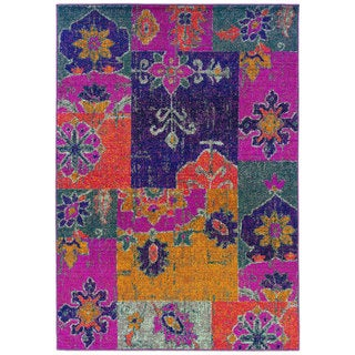 Bright Patchwork Multi/ Pink Polypropylene Rug (5'3 x 7'6)