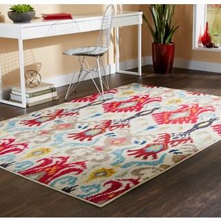 Vibrant Bohemian Ivory/ Red Rug (5'3 x 7'6)