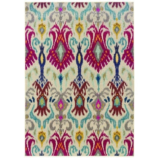 Vibrant Bohemian Ivory/ Red Rug (6'7 x 9'1)