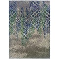 "Kaleidoscope Grey/ Blue Polypropylene Rug (5'3""x7'6"")"