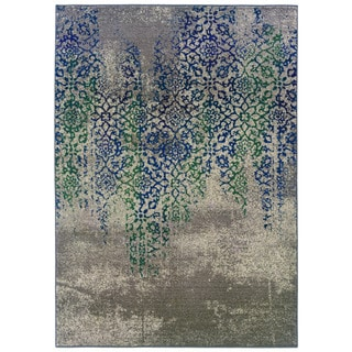 Distressed Motif Grey/ Blue Polypropylene Rug (5'3 x 7'6)