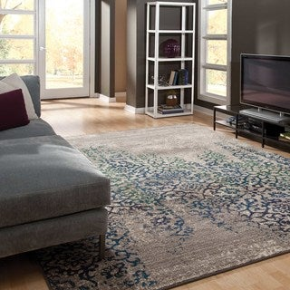 Distressed Motif Grey/ Blue Polypropylene Rug (6'7 x 9'1)