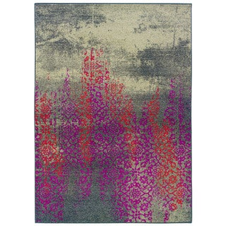 Distressed Motif Grey/ Pink Polypropylene Area Rug (9'9 x 12'2)