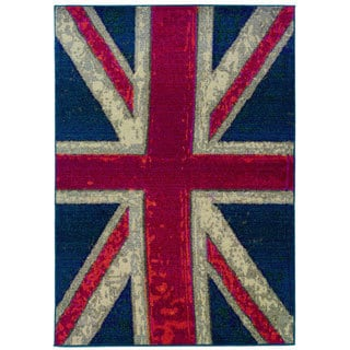 Modernized Union Jack Navy and Pink Area Rug (4' x 5'9)