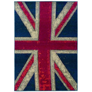 Modernized Union Jack Navy/ Pink Rug (6'7 x 9'1)
