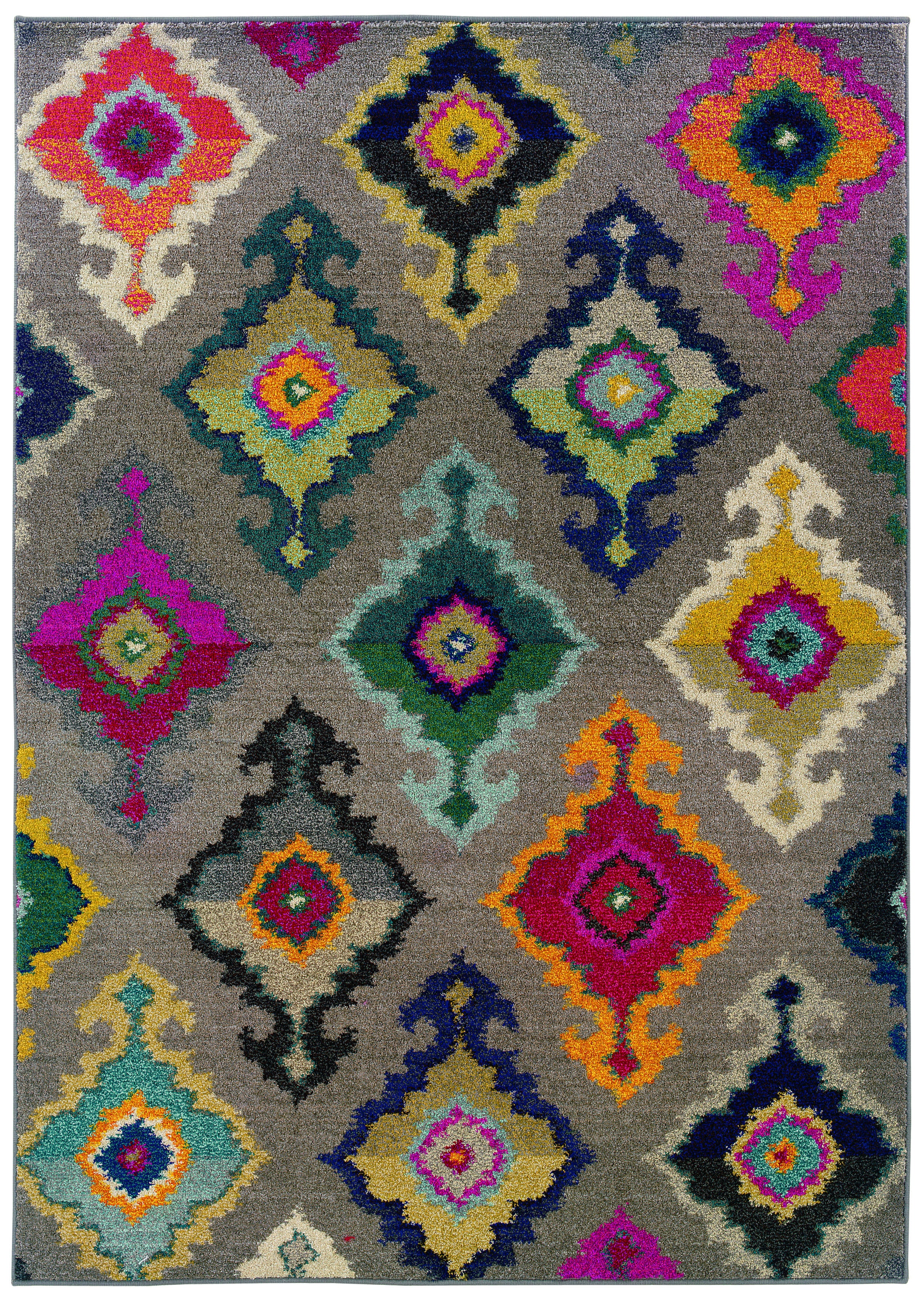 Kaleidoscope Grey and Multicolored Area Rug (4' X 5'9)