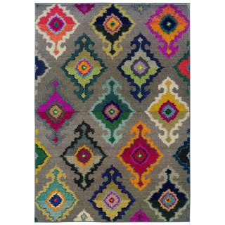 Vibrant Bohemian Geometric-pattern Gray/ Multicolored Polypropylene Rug (9'9 x 12'2)