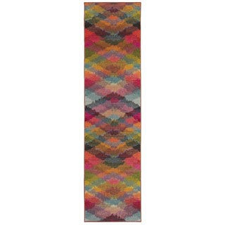 Bold Argyle Multi/ Pink Area Rug (2'7 x 10')