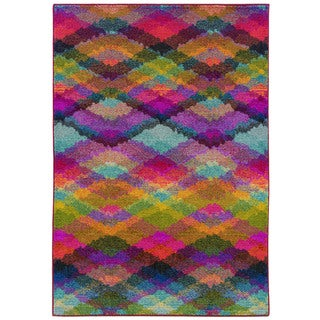 Bold Argyle Multi/ Pink Polypropylene Rug (5'3 x 7'6)