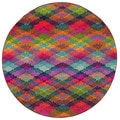 Kaleidoscope Contemporary Multi/ Pink Polypropylene Rug (7'8 Round)