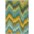 "Kaleidoscope Yellow/ Blue Polypropylene Rug (5'3""x7'6"")"