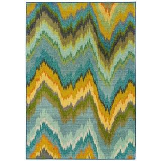 Vibrant Ikat Yellow/ Blue Polypropylene Rug (5'3 x 7'6)