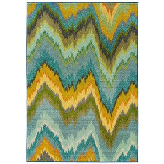 Vibrant Ikat Yellow/ Blue Rug (6'7 x 9'1)
