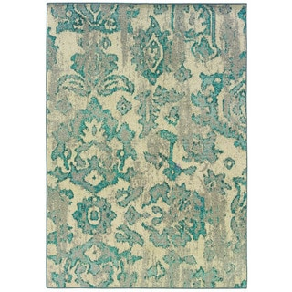 Distressed Floral Ivory/ Blue Polypropylene Rug (6'7 x 9'1)