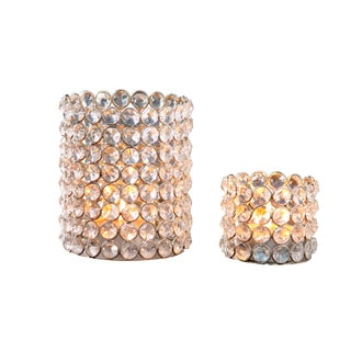 Silver Crystal Beaded Tealight Set