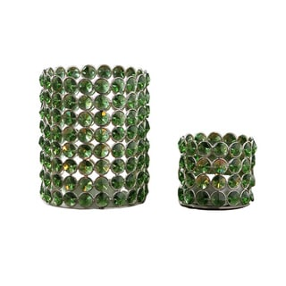 Green Crystal Beaded Tealight Set