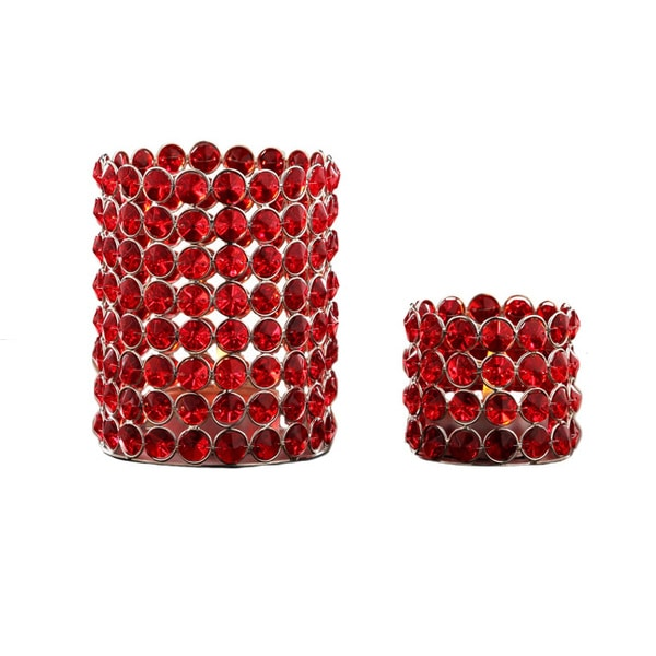 Red Crystal Beaded Tealight Set