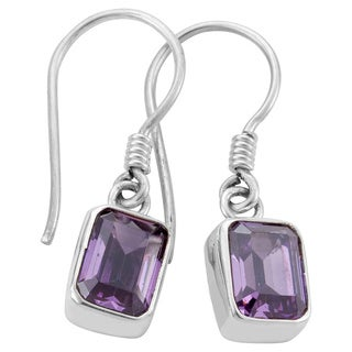 Sterling Silver Emerald-Cut Amethyst Earrings (Indonesia)
