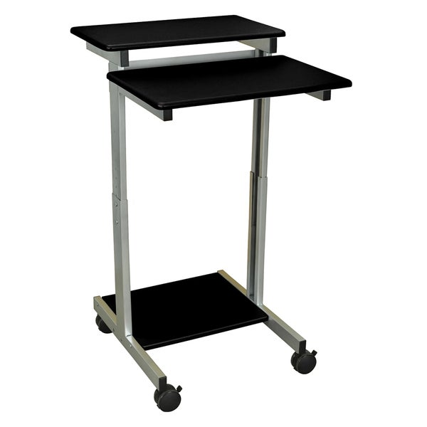 Luxor Mobile Silver Grey Stand-Up Computer Presentation Cart
