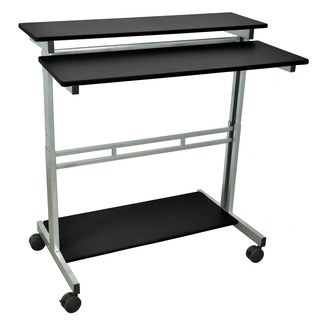Luxor Mobile Stand-Up Computer Presentation Cart With Silver Gray Frame