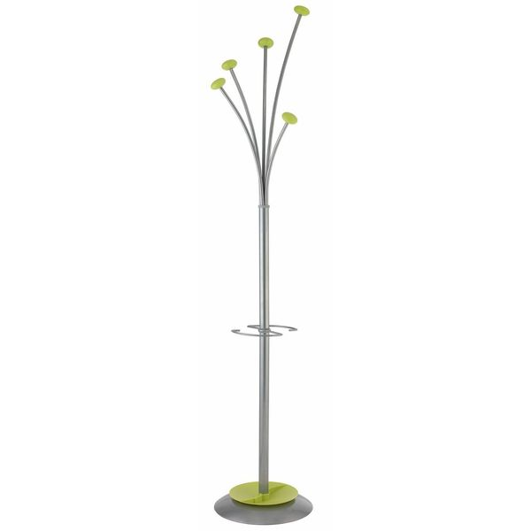 Alba Silver/Green Festival Modern Large Coat Rack/ Umbrella Holder