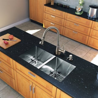 Vigo All-in-One 29-inch Undermount Stainless Steel Double Bowl Kitchen Sink Faucet Set