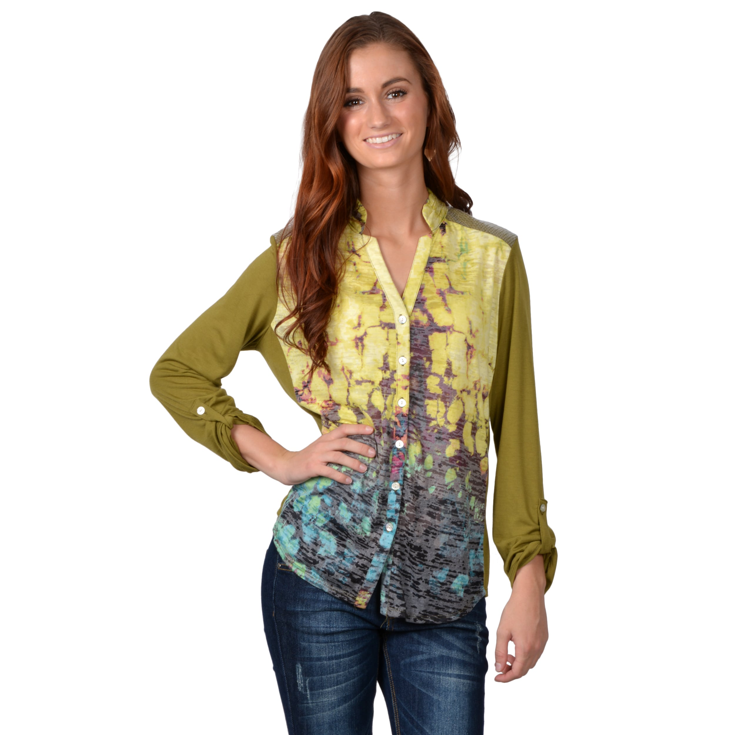 Journee Collection Women's Button-up Burnout Top