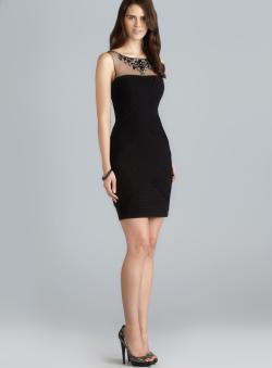 Adrianna Papell Bead Embellished Illusion Yoke Pin Tucked Dress