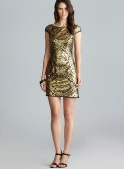 Adrianna Papell Cap Sleeve Metallic Sequin Shift Dress