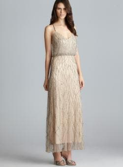 Adrianna Papell Cross Back Bead Embellished Blouson Dress