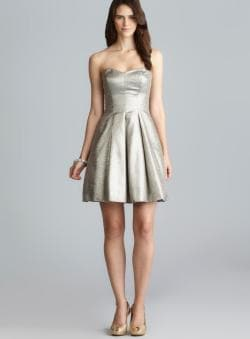 Adrianna Papell Strapless Sweatheart Neckline Pleated Metallic Dress