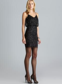 Adrianna Papell V-Neck Bead Embellished Blouson Dress